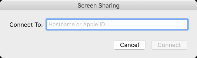 """The """"Connect To:"""" line in the """"Screen Sharing"""" box."""