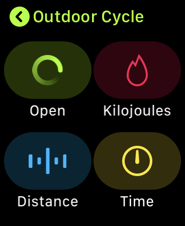 "The ""Outdoor Cycle"" options in the Workouts app."
