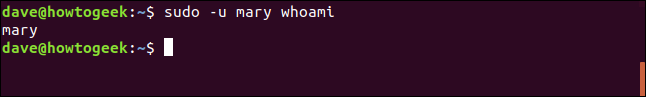 sudo -u whoami in a terminal window