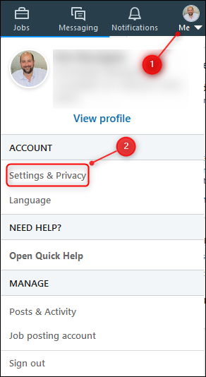 "The ""Settings & Privacy"" menu option."