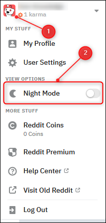 """Click your profile avatar in the top right of the page and then select the """"Night Mode"""" toggle button."""