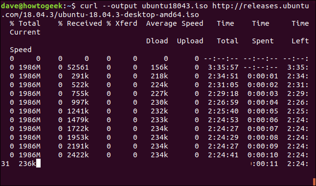 Progess of a large download in a terminal widnow