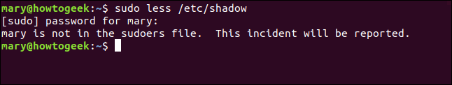 sudo less /etc/shadow in a terminal window
