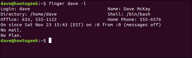finger dave -l in a terminal window