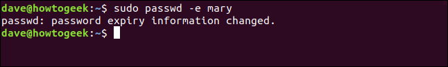 "The ""password expiry information changed"" confirmation in a terminal window."