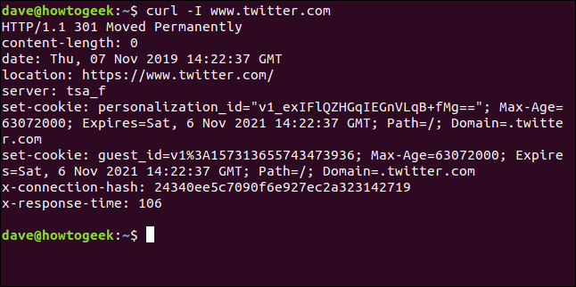 Output from curl -I www.twitter.com in a terminal window