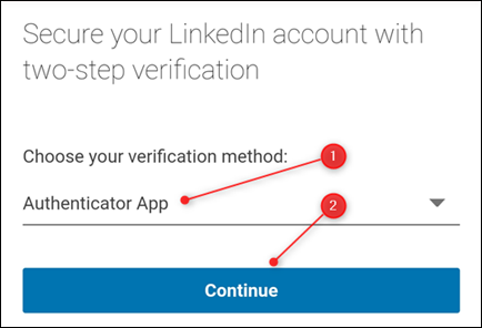 The verification method dropdown.