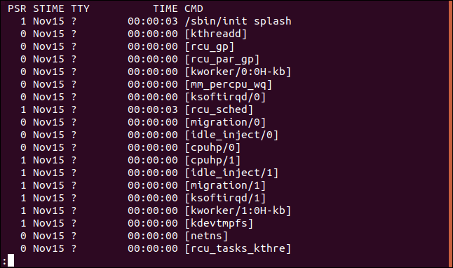 output from ps -eF | less in a terminal window, right hand side of the display
