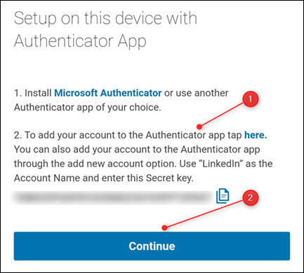 LinkedIn's instructions for adding the account to an authenticator app.