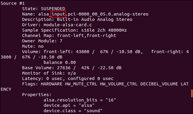 pactl output in a terminal window showing there is a source #1 which is an input source