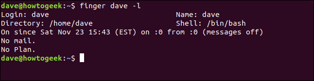Output of finger dave -l in a terminal window