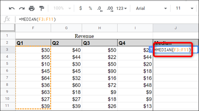 You can use ranges from your spreadsheet as well, just reference them in the function.