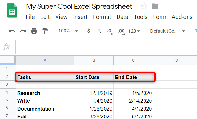 Create a table with three headings: Tasks, Start Date, and End Date. Fill it out with your project's data.