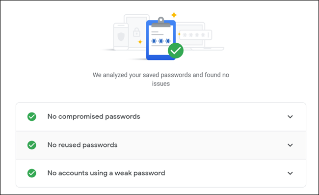 Provided none of your passwords are compromised, reused, or weak, you'll see all green checks.
