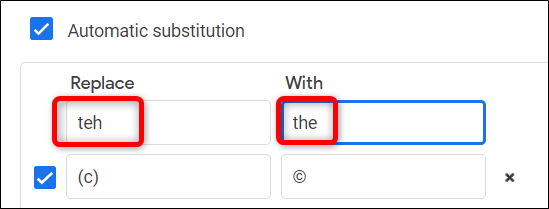 You can use this feature as an autocorrect inside your document to automatically replace misspelled words.