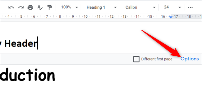 """Click """"Options"""" to change the margins."""