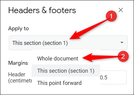 """Click the """"Apply To"""" dropdown, and then click either """"Whole Document"""" or """"This Point Forward."""""""