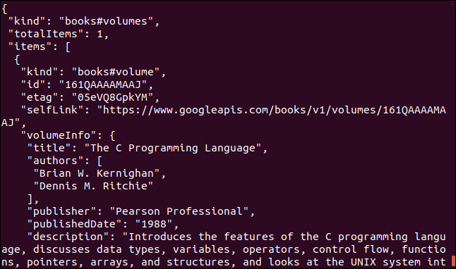 Google book API data displayed in a terminal window