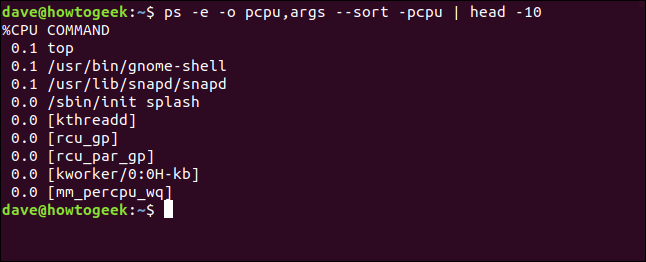 output from ps -e -o pcpu,args --sort -pcpu | head 10 in a terminal window