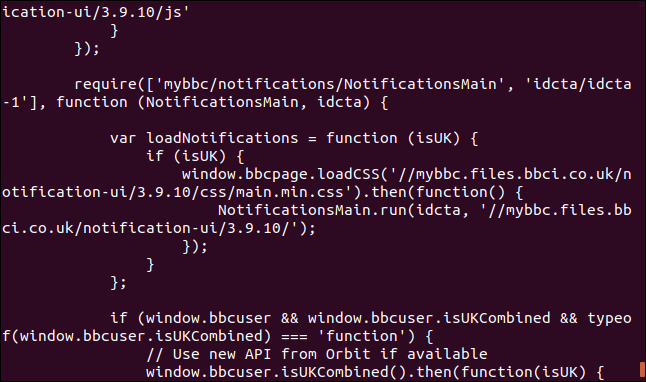 Output from curl displaying web page source code in a terminal window