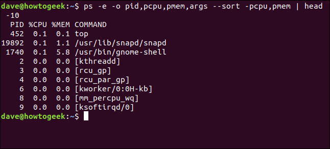 Output from ps -e -o pid,pcpu,pmem,args --sort -pcpu,pmem | head 10