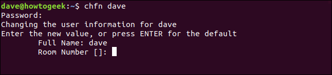 The chfn interactive process in a terminal window