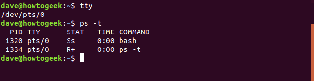 ps -t in a terminal window