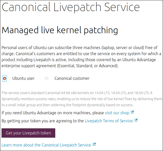 Canonical Livepatch Service web page