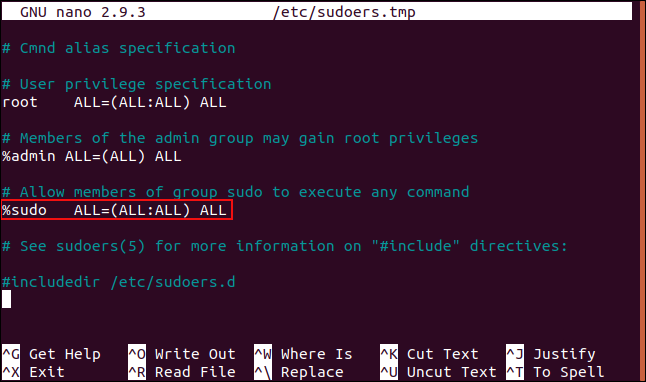 The sudoers file with the %sudo line highlighted