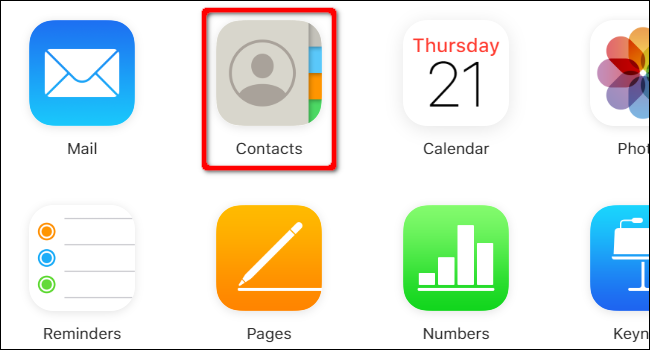 "Click ""Contacts"" on the iCloud website."