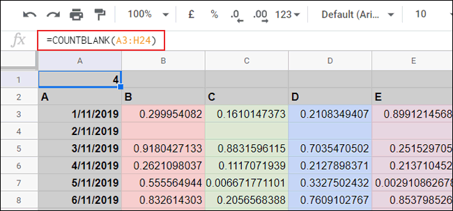 The COUNTBLANK function used to count blank cells in Google Sheets
