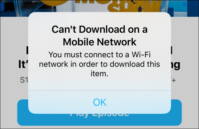 Can't download on cellular alert