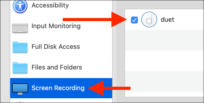 "Click ""Screen Recording,"" and then click to check mark the box next to ""Duet."""