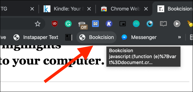 Click on Bookcision bookmarklet