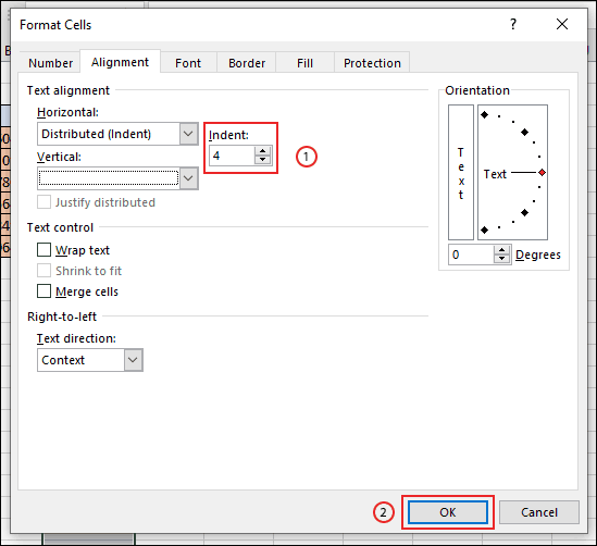 Confirm your cell border indent spacing, then click OK