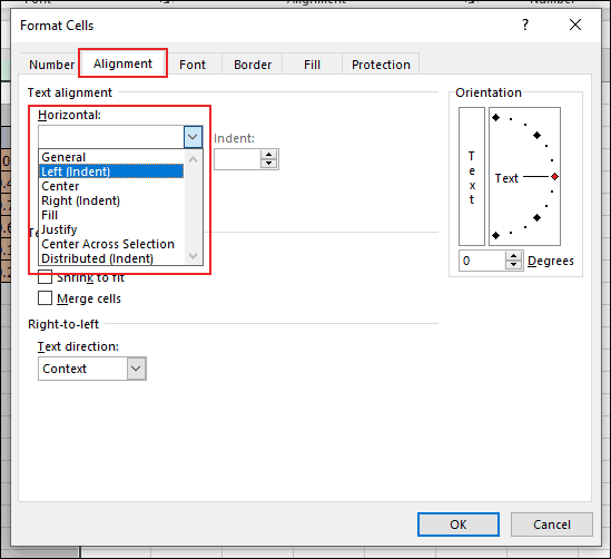 """In the Format Cells dialog box in Excel, click on the Alignment tab and click on the """"Horizontal"""" dropdown menu, underneath the Text Alignment section"""