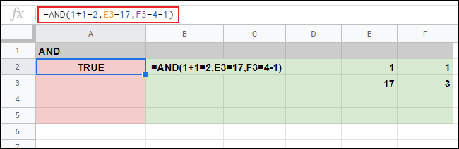 An AND response of TRUE in cell A2 to three arguments on a Google Sheets spreadsheet.