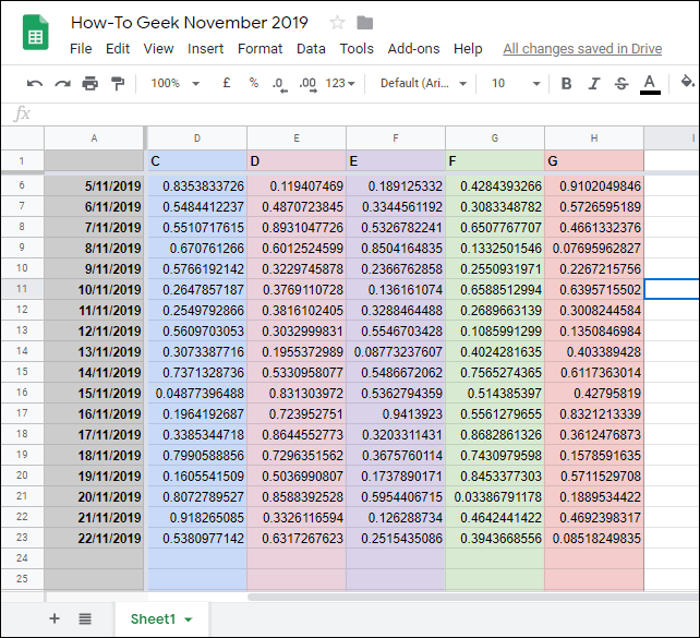 An example of frozen columns and rows in Google Sheets