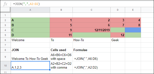 The JOIN function merging arrays of cells together in a Google Sheets spreadsheet.