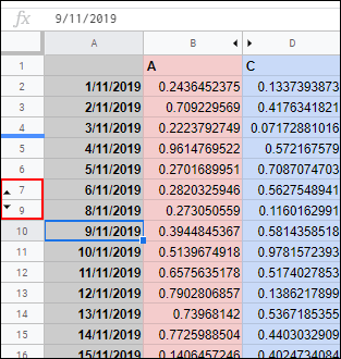 Click the opposite arrows to display a hidden row in Google Sheets