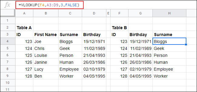 VLOOKUP in Google Sheets, returning data from one table to another.