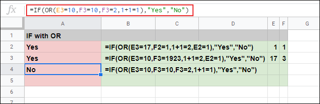 The IF function with a nested OR formula providing multiple arguments that result in both TRUE and FALSE responses in a Google Sheets spreadsheet.