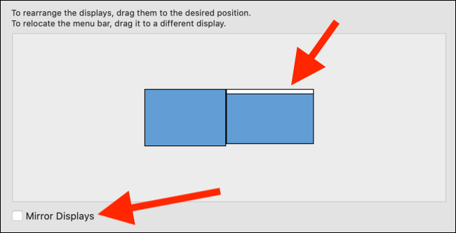 """Click and hold the white rectangle to drag it to the Mac display. Check the box next to """"Mirror Displays"""" to mirror your Mac's display to your iPad."""