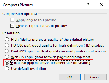 """Select """"E-mail (96 PPI),"""" and then click """"OK."""""""