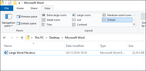 A large Microsoft Word file (32 MB) in Windows File Explorer.