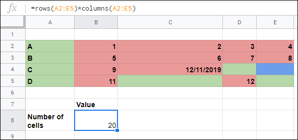The ROWS and COLUMNS functions used to calculate the number of cells in a range in Google Sheets