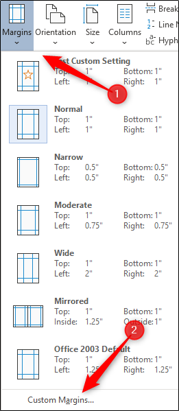 Select custom margins option