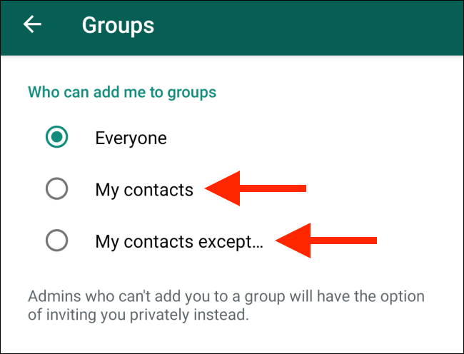 Switch to Contacts option