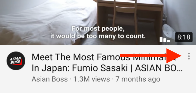 Tap on menu button on the video title