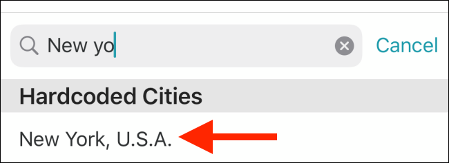 Tap the city to add it to the list.